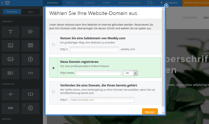 Wählen Sie Ihre Website-Domain